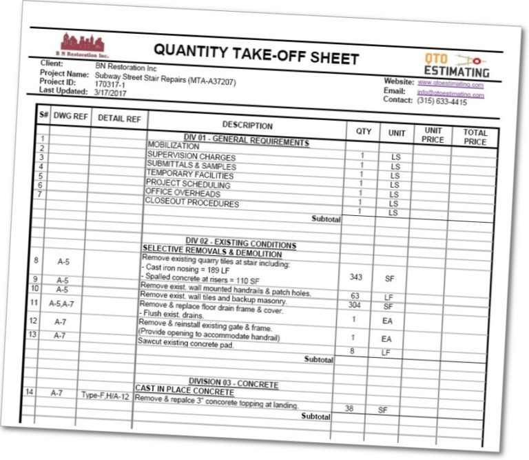 Sample Quantity Takeoff Sheets  Qto Estimating