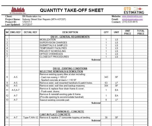 Qto Estimating Construction Estimating Services